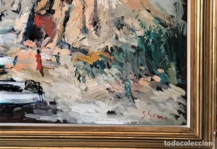 Arte: Calella de Palafrugell. Joan Serra Melgosa. Gran óleo sobre lienzo 117 x 83 cm - Foto 3 - 171418923