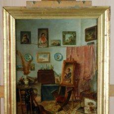 Arte: ESTUDIO DEL PINTOR ÓLEO SOBRE TABLA ESCUELA ESPAÑOLA DEL SIGLO XIX. Lote 171422765