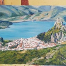 Arte: VISTA DE ZAHARA DE LA SIERRA. PAISAJE 55X33. FIRMADO POR SU AUTORA.. Lote 171464884