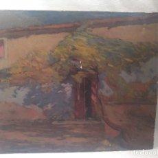 Arte: OLEO SOBRE TELA. FRANCESC CAMPS RIBERA. CALLE MAGALLANES, 49. 1936. AUTO CARICATURA EN EL DORSO.. Lote 171477557