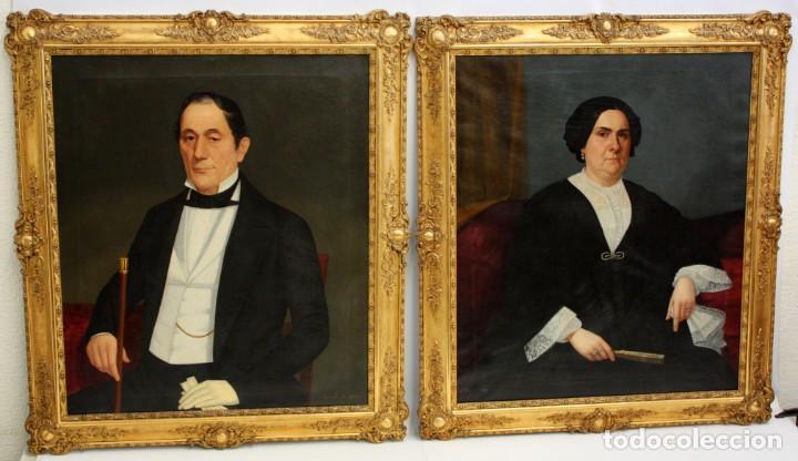 JUAN FRANCH (BARCELONA, C.1825 - MADRID, 1882) PAREJA DE OLEOS SOBRE TELA. RETRATOS FAMILIARES (Arte - Pintura - Pintura al Óleo Moderna siglo XIX)