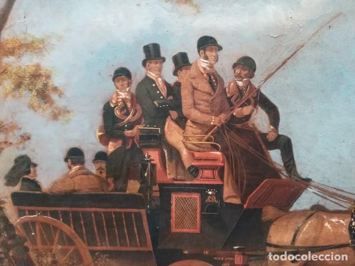 CARRUAJE CON PERSONAJES (Arte - Pintura - Pintura al Óleo Moderna siglo XIX)