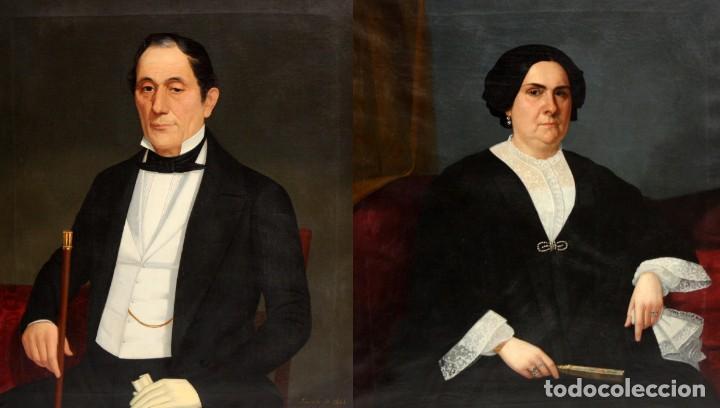 Arte: JUAN FRANCH (Barcelona, c.1825 - Madrid, 1882) PAREJA DE OLEOS SOBRE TELA. RETRATOS FAMILIARES - Foto 2 - 171477810