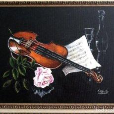 Arte: VIOLIN Y ROSA OBRA DE GILABERTE INCLUYO MARCO . Lote 171517797