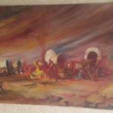 Arte: ARTE. CONTEMPORÁNEO ÓLEO SOBRE LIENZO CAMPAMENTO GITANO FIRMA ILEGIBLE. ESTILO SERRASANTA. Lote 171569344
