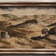 Arte: ÓLEO SOBRE LIENZO, ANTONIO SANTOS VIANA, 1964, PAISAJE, 150 X 62 CM. Lote 171615518
