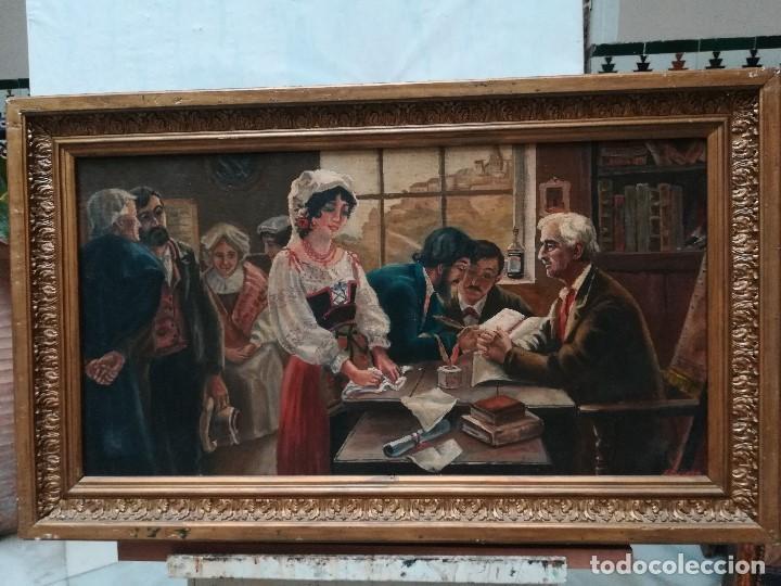 NOTARIA, FIRMADO POR QUIJADA (Arte - Pintura - Pintura al Óleo Moderna siglo XIX)