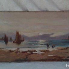 Arte: PINTURA AL OLEO FIRMADA LIENZO,ELISEO MEIFREN ROIG 1857-1940 BUEN TAMAÑO 96CM POR 38CM ,MARINA. Lote 171707085