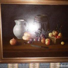 Arte: OLEO SOBRE LIENZO. SOBRIO BODEGÓN ALIMENTOS, TÍPICO DEL BARROCO ESPAÑOL. Lote 171716680