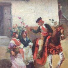 Arte: OLEO BANDOLERO GITANAS. FIRMADO. COSTUMBRISTA GRANADINA SIGLO XIX. Lote 171716924