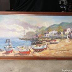 Arte: PRECIOSA MARINA ÓLEO PUEBLO PESQUERO, FIRMADO POR AUTOR- GRAN FORMATO, 138X68CM.. Lote 171736178