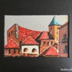 Arte: ÓLEO SOBRE TABLA FELIX ADELANTADO ZARAGOZA 1911- 2001 PUEBLO. Lote 171833502