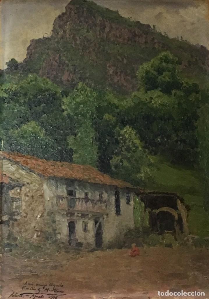 Arte: Paisaje asturiano por Emilio Gª Martínez (Madrid 1875-1950) fechado en 1916 - Foto 2 - 171963724