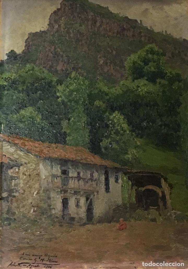 PAISAJE ASTURIANO POR EMILIO Gª MARTÍNEZ (MADRID 1875-1950) FECHADO EN 1916 (Arte - Pintura - Pintura al Óleo Contemporánea )