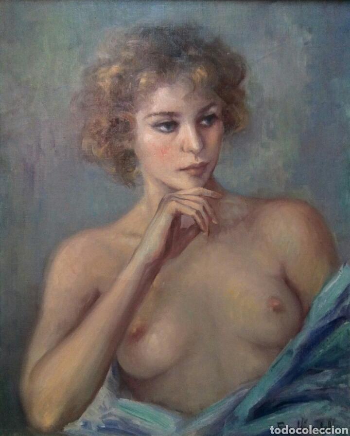 Arte: Oleo sobre lienzo desnudo femenino firmado Roser Vinardell - Foto 3 - 171991428