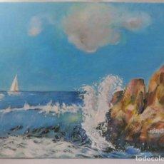 Arte: TELA AL OLEO ORIGINAL. MARINA. FIRMADO M.J. ROJAS.. Lote 172092585