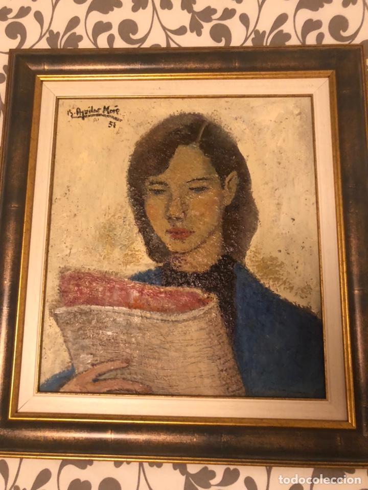 CHICA CON DIARIO 1951 - RAMÓN AGUILAR MORE (1924-2015) (Arte - Pintura - Pintura al Óleo Contemporánea )