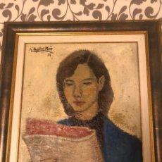 Arte: CHICA CON DIARIO 1951 - RAMÓN AGUILAR MORE (1924-2015). Lote 172115148