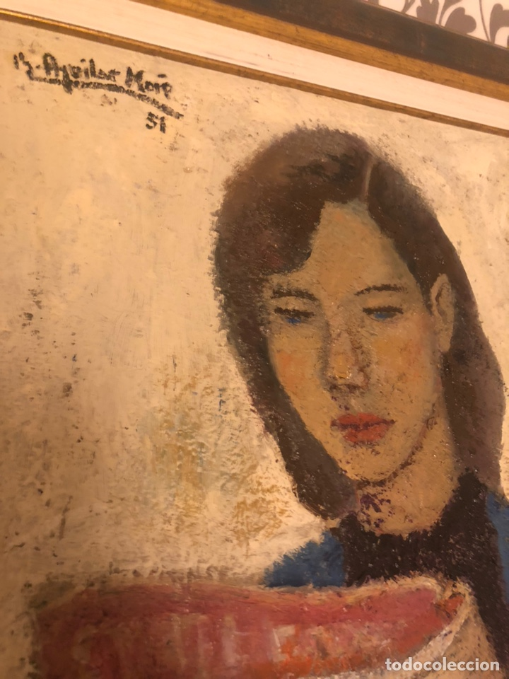 Arte: Chica con diario 1951 - Ramón Aguilar More (1924-2015) - Foto 2 - 172115148