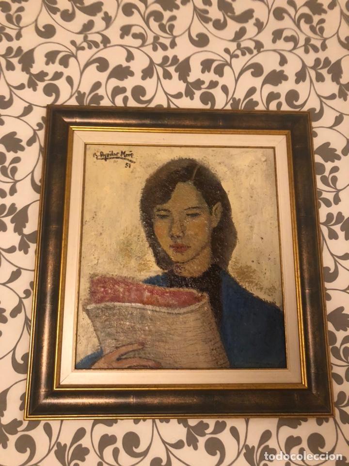 Arte: Chica con diario 1951 - Ramón Aguilar More (1924-2015) - Foto 4 - 172115148