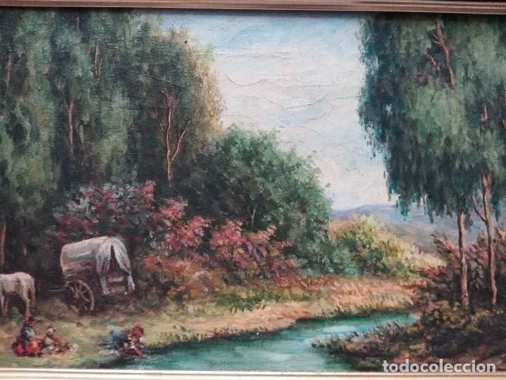 Arte: Paisaje con personas en el rio, firmado por Andres Megide - Foto 2 - 172146547