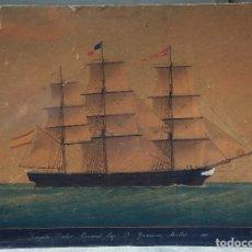 Arte: FRAGATA DOCTOR CRUIXENT, CAPITÁN GERÓNIMO MILLET, AÑO 1863. EL MASNOU O MATARÓ SEGURAMENTE. 82X59CM.. Lote 49784033
