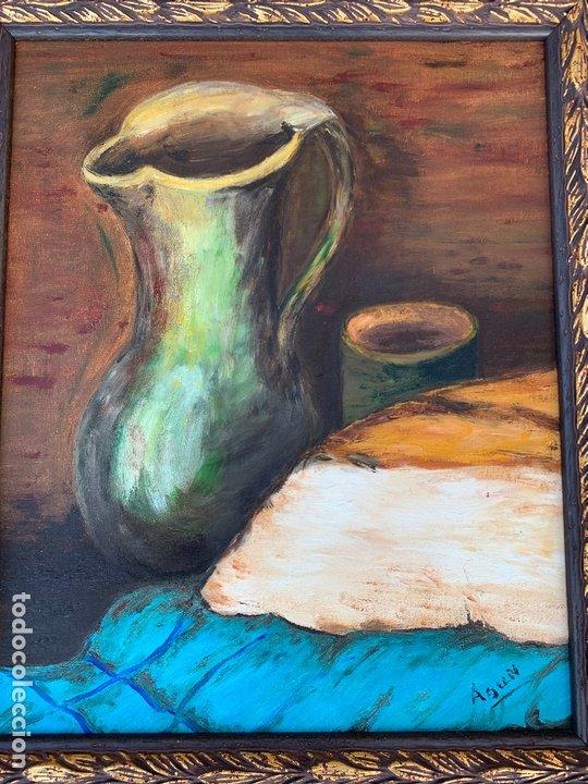 Arte: Pintura al oleo sobre TABLERO entelado. Firmado. Bodegon. Mide en total 54x46cms. Precioso marco - Foto 2 - 172218632