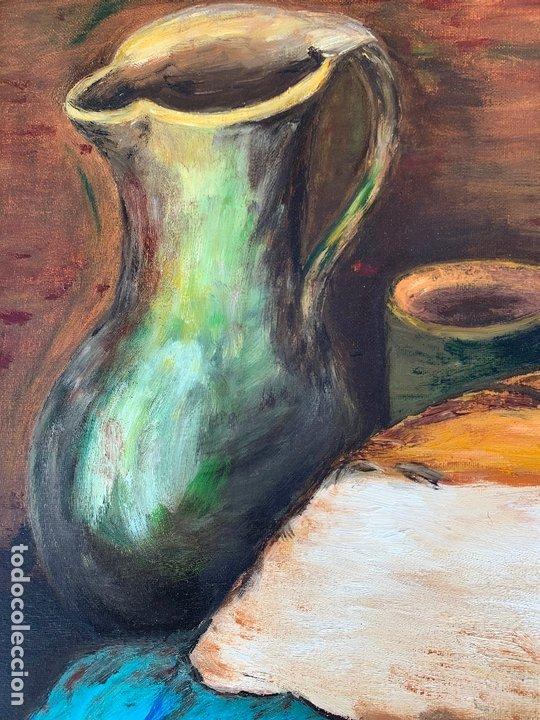 Arte: Pintura al oleo sobre TABLERO entelado. Firmado. Bodegon. Mide en total 54x46cms. Precioso marco - Foto 4 - 172218632