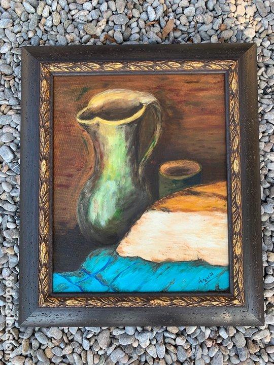 PINTURA AL OLEO SOBRE TABLERO ENTELADO. FIRMADO. BODEGON. MIDE EN TOTAL 54X46CMS. PRECIOSO MARCO (Arte - Pintura - Pintura al Óleo Moderna sin fecha definida)