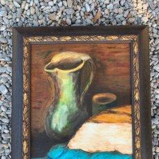 Arte: PINTURA AL OLEO SOBRE TABLERO ENTELADO. FIRMADO. BODEGON. MIDE EN TOTAL 54X46CMS. PRECIOSO MARCO. Lote 172218632