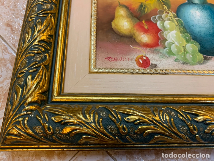 Arte: Precioso bodegon enmarcado, oleo sobre lienzo, desconocemos firma, En total mide 43x38cms - Foto 2 - 172236288