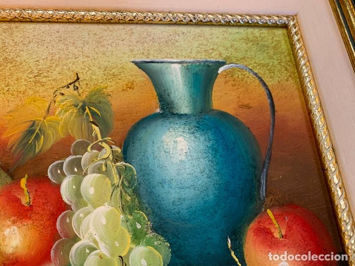 Arte: Precioso bodegon enmarcado, oleo sobre lienzo, desconocemos firma, En total mide 43x38cms - Foto 5 - 172236288