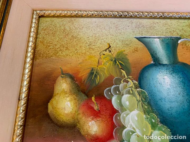 Arte: Precioso bodegon enmarcado, oleo sobre lienzo, desconocemos firma, En total mide 43x38cms - Foto 6 - 172236288