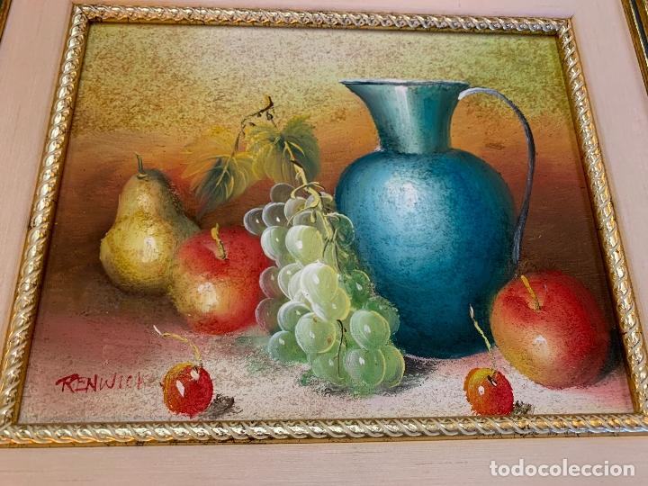 Arte: Precioso bodegon enmarcado, oleo sobre lienzo, desconocemos firma, En total mide 43x38cms - Foto 7 - 172236288
