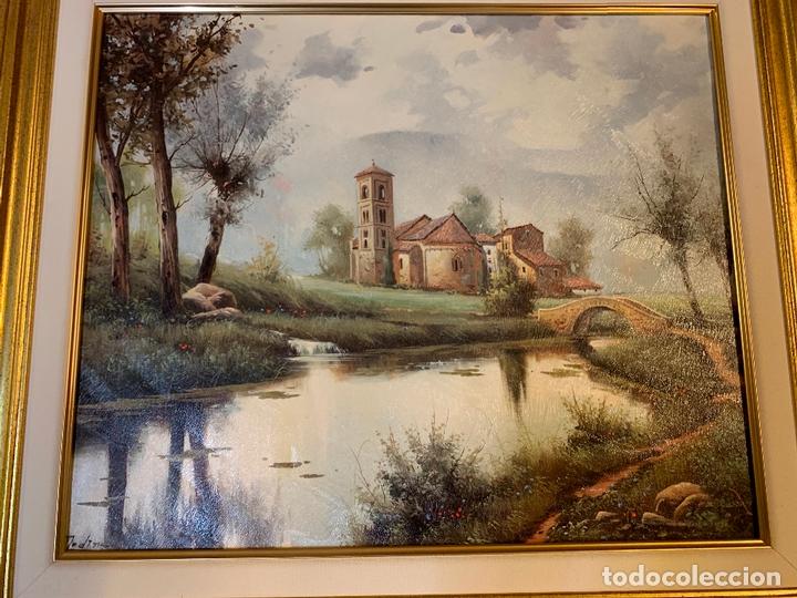 Arte: Precioso paisaje enmarcado, oleo sobre lienzo, firmado Medina, En total mide 70x61cms - Foto 2 - 172239045