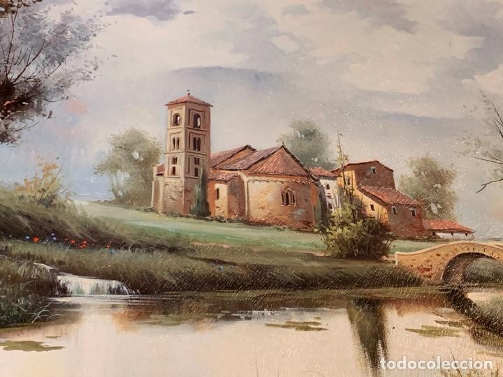 Arte: Precioso paisaje enmarcado, oleo sobre lienzo, firmado Medina, En total mide 70x61cms - Foto 3 - 172239045
