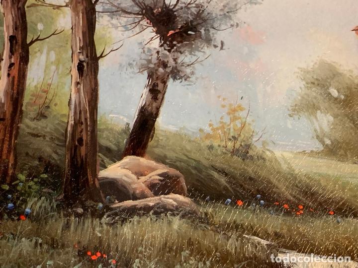 Arte: Precioso paisaje enmarcado, oleo sobre lienzo, firmado Medina, En total mide 70x61cms - Foto 5 - 172239045