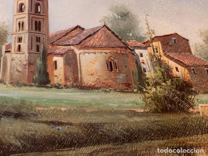 Arte: Precioso paisaje enmarcado, oleo sobre lienzo, firmado Medina, En total mide 70x61cms - Foto 6 - 172239045