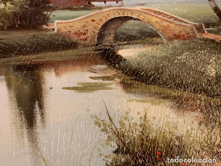 Arte: Precioso paisaje enmarcado, oleo sobre lienzo, firmado Medina, En total mide 70x61cms - Foto 7 - 172239045