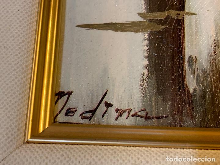 Arte: Precioso paisaje enmarcado, oleo sobre lienzo, firmado Medina, En total mide 70x61cms - Foto 8 - 172239045