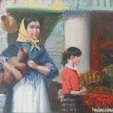 Arte: SOLER MONTFERRER, JOSEP (1945, MANRESA) - AGUADORA I FRUTERA.OLEO/TELA.FIRMADO.. Lote 172285117