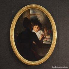 Arte: PINTURA ANTIGUA FRANCESA ESCENA INTERIOR DEL SIGLO XIX. Lote 172291597