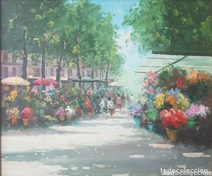 Arte: Rambla de las Flores - Firmado J.Campos.oleo/tela. - Foto 2 - 172290407