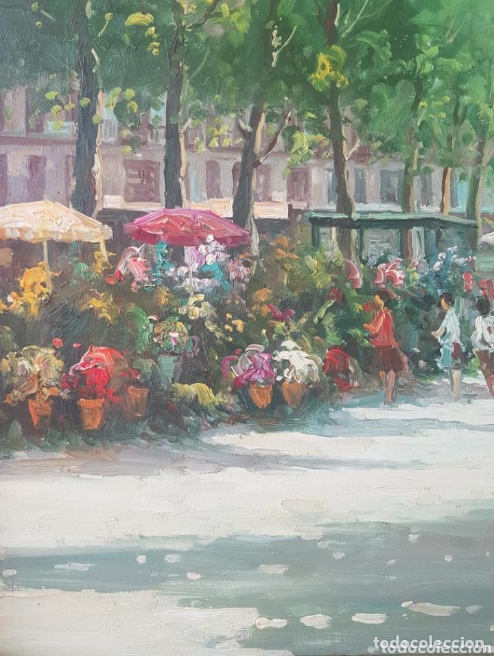 Arte: Rambla de las Flores - Firmado J.Campos.oleo/tela. - Foto 3 - 172290407