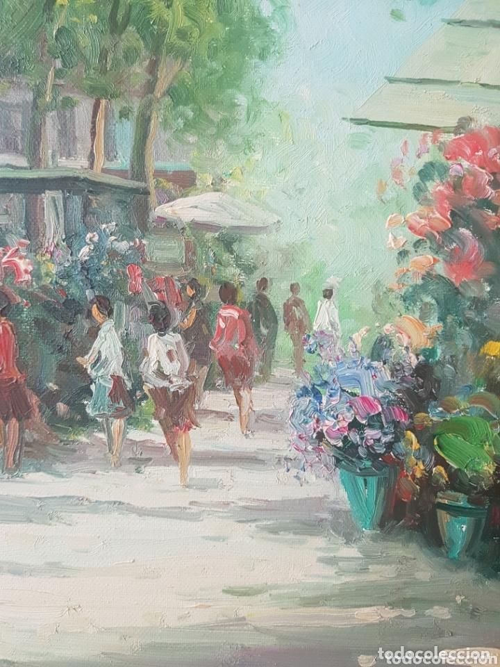 Arte: Rambla de las Flores - Firmado J.Campos.oleo/tela. - Foto 4 - 172290407