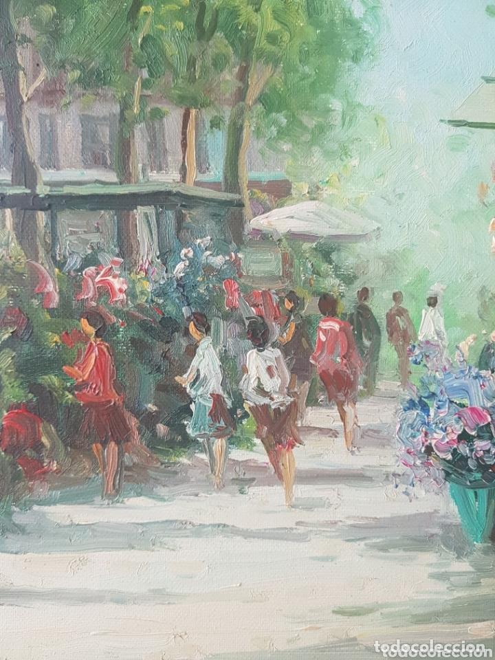 Arte: Rambla de las Flores - Firmado J.Campos.oleo/tela. - Foto 5 - 172290407