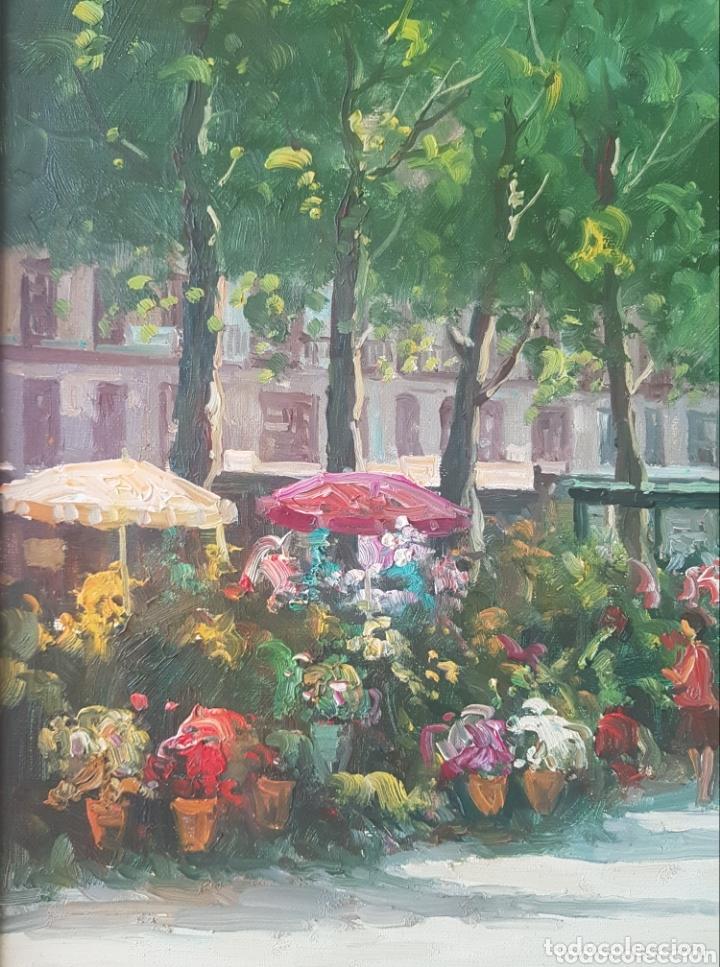 Arte: Rambla de las Flores - Firmado J.Campos.oleo/tela. - Foto 6 - 172290407