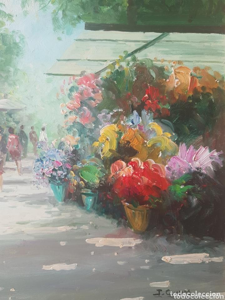 Arte: Rambla de las Flores - Firmado J.Campos.oleo/tela. - Foto 7 - 172290407
