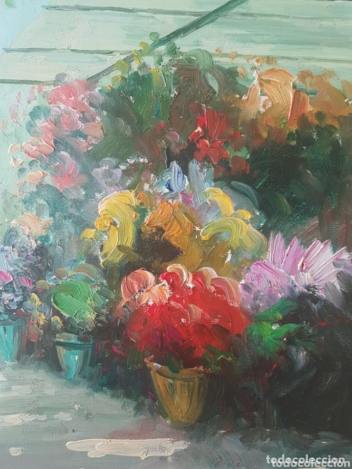 Arte: Rambla de las Flores - Firmado J.Campos.oleo/tela. - Foto 8 - 172290407