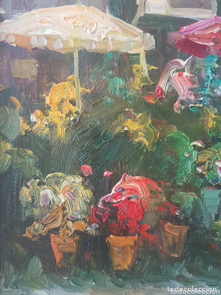 Arte: Rambla de las Flores - Firmado J.Campos.oleo/tela. - Foto 9 - 172290407